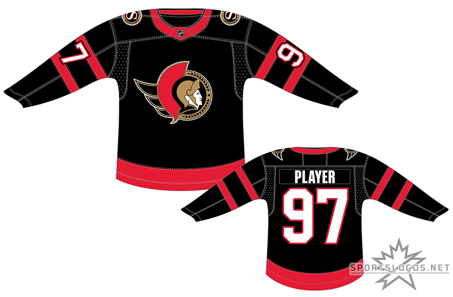 Ottawa Senators Uniform Dark Uniform (2020/21-Pres) - A return of sorts for the Ottawa Senators as the club brings back a uniform very similar to what the club had last worn 21 years earlier. Worn for home games, the jersey returns the 2D Centurion logo to the chest, as well as black as the main jersey colour. Two red stripes on each sleeve, a single red stripe at the bottom, and white numbers trimmed in red. The Ottawa Senators made the jump back in time to begin the 2020-21 NHL season. SportsLogos.Net