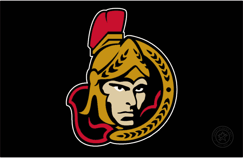 Ottawa Senators Logo Jersey Logo (2002/03-2006/07) - A forward-facing version of the Ottawa Senators familiar Centurion logo worn on a black alternate jersey. The Senators wore this from 2002-03 until 2006-07, slightly modified from the version worn earlier, the shading on the face was simplified considerably. SportsLogos.Net