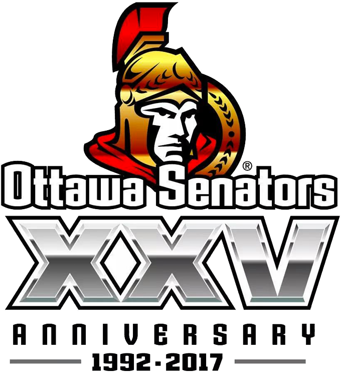 Ottawa Senators Logo Unused Logo (2016/17) - Ottawa Senators original 25th Anniversary (English version) Logo. This logo was replaced before the season due to fan criticism. SportsLogos.Net