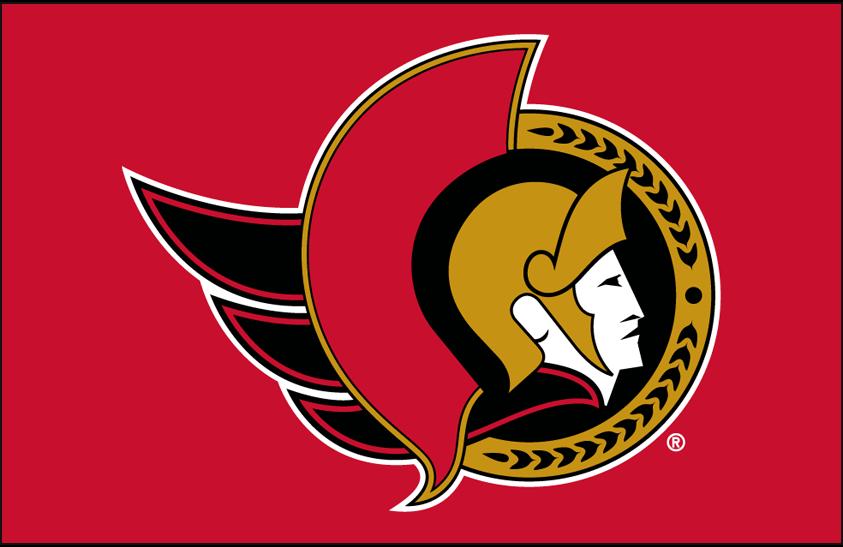 Ottawa Senators Logo Primary Dark Logo (1997/98-2006/07) - Ottawa Senators primary logo on red SportsLogos.Net