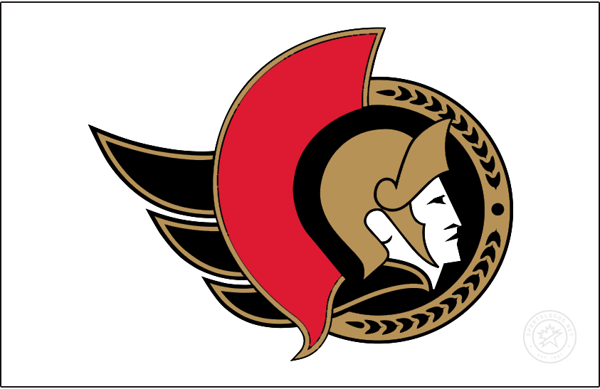 Ottawa Senators Logo Jersey Logo (2020/21-Pres) - Known as the Senators 2D Centurion logo, this design shown here on white as it appears on their road white jersey, features the profile of a Roman senator wearing a gold helmet placed inside a black circle. To the left is a red helmet decoration as well as a flowing gold cape, a semi circle in gold to the right featuring a series of laurel leaves. The Ottawa Senators used a similar version of this logo until 2007, the colour of the cape was changed from red to gold for the 2021 edition. SportsLogos.Net