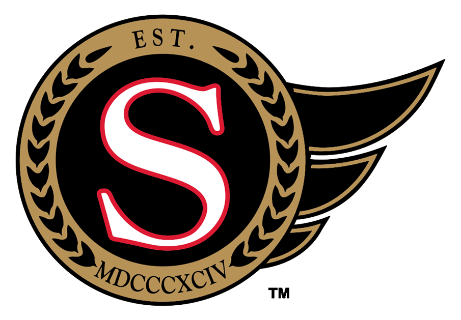 Ottawa Senators Logo Alternate Logo (2020/21-Pres) - Worn on the shoulders of their home and road uniforms, the Ottawa Senators secondary logo features the letter S in white trimmed in red inside a black and gold circle. Inside the gold are black laurel leaves with EST. MDCCCXCIV. This is the Roman Numeral for 1894, the first season that the team which became the original Ottawa Senators team started play. This design is nearly identical to the alternate logo the club used in their expansion 1993 season but the shade of gold has changed as well as the colour of the spikes to the right, originally black and red, now black and gold. SportsLogos.Net