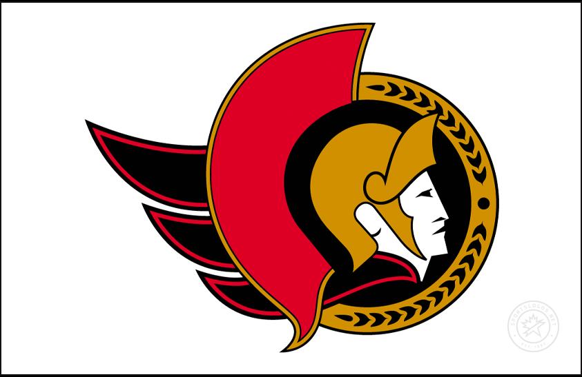 Ottawa Senators Logo Jersey Logo (1997/98-2006/07) - Ottawa Senators logo on white, worn on the Senators white home/road jersey from 1997-98 through 2006-07 SportsLogos.Net