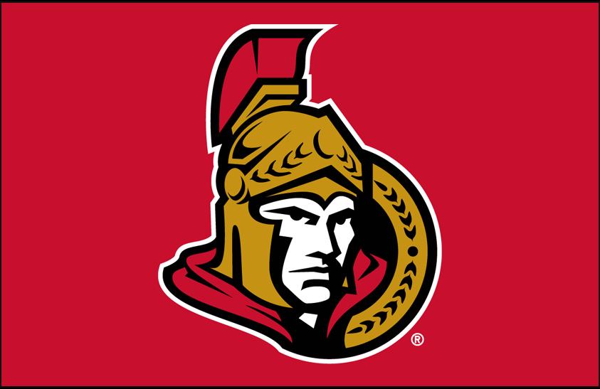 Ottawa Senators Logo Primary Dark Logo (2007/08-2019/20) - Ottawa Senators primary logo on red SportsLogos.Net