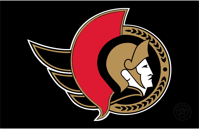 Ottawa Senators Logo Jersey Logo (2020/21-Pres) - Known as the Senators 2D Centurion logo, this design shown here on black as it appears on their home black jersey, features the profile of a Roman senator wearing a gold helmet placed inside a black circle. To the left is a red helmet decoration as well as a flowing gold cape, a semi circle in gold to the right featuring a series of laurel leaves. The Ottawa Senators used a similar version of this logo until 2007, the colour of the cape was changed from red to gold for the 2021 edition. SportsLogos.Net