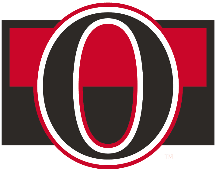 Ottawa Senators Logo Alternate Logo (2007/08-2019/20) - A black 'O' on black and red stripes SportsLogos.Net