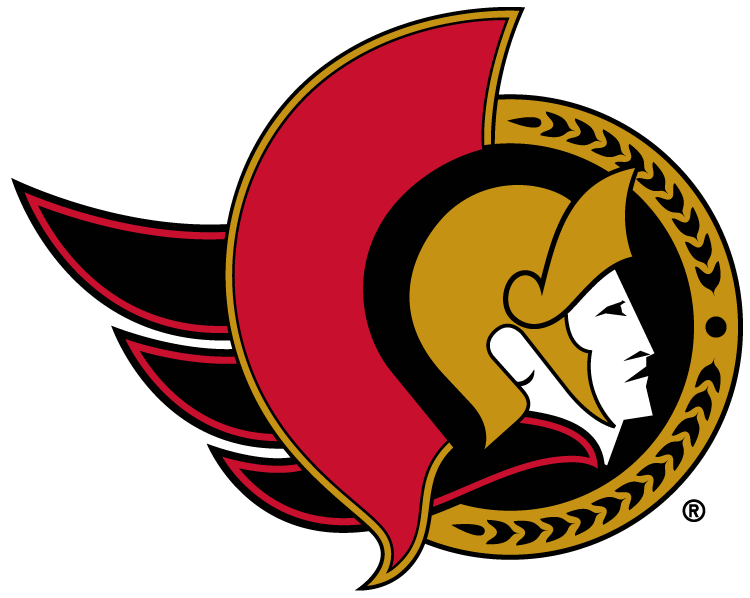 Ottawa Senators Logo Primary Logo (1997/98-2006/07) - Senator head facing the right in a black circle SportsLogos.Net