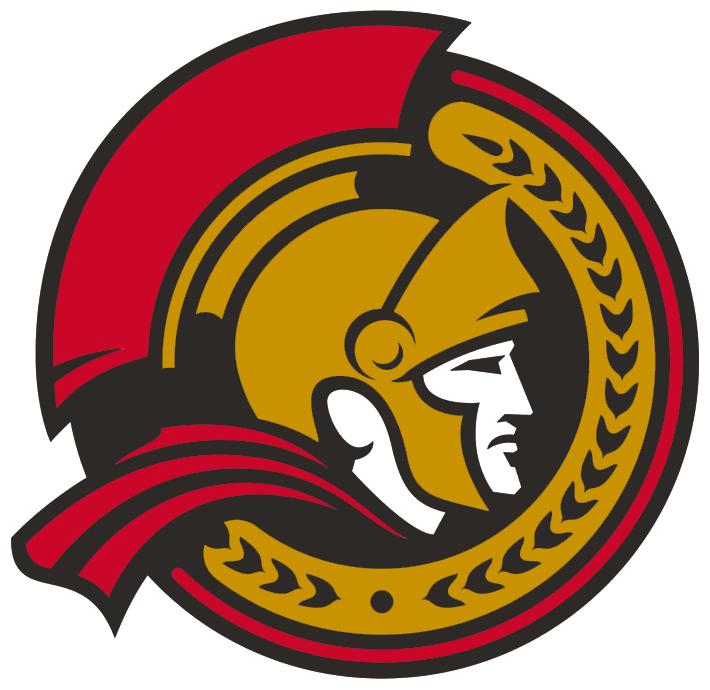 Ottawa Senators Logo Alternate Logo (2007/08-2019/20) - Profile view of a senator head inside a gold and red circle SportsLogos.Net