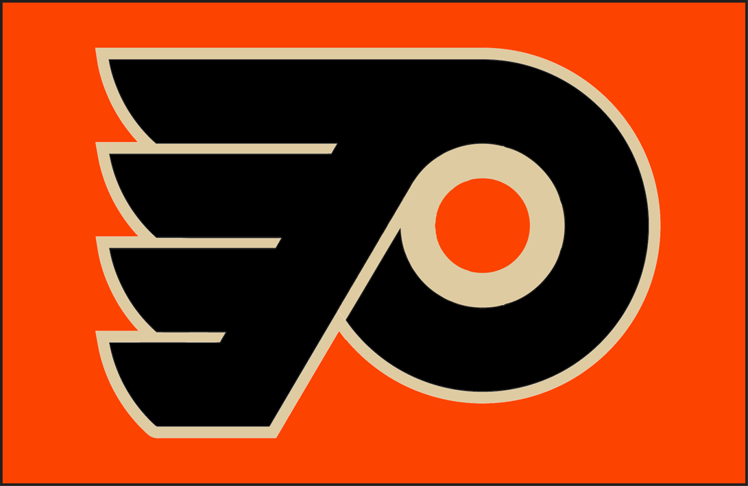 Philadelphia Flyers Logo Jersey Logo (2014/15-2016/17) - Philadelphia Flyers jersey logo with vintage white/cream in place of the white. Worn on the Philadelphia Flyers orange alternate jersey beginning in 2014-15. Worn previously for one game during the 2012 NHL Winter Classic. SportsLogos.Net