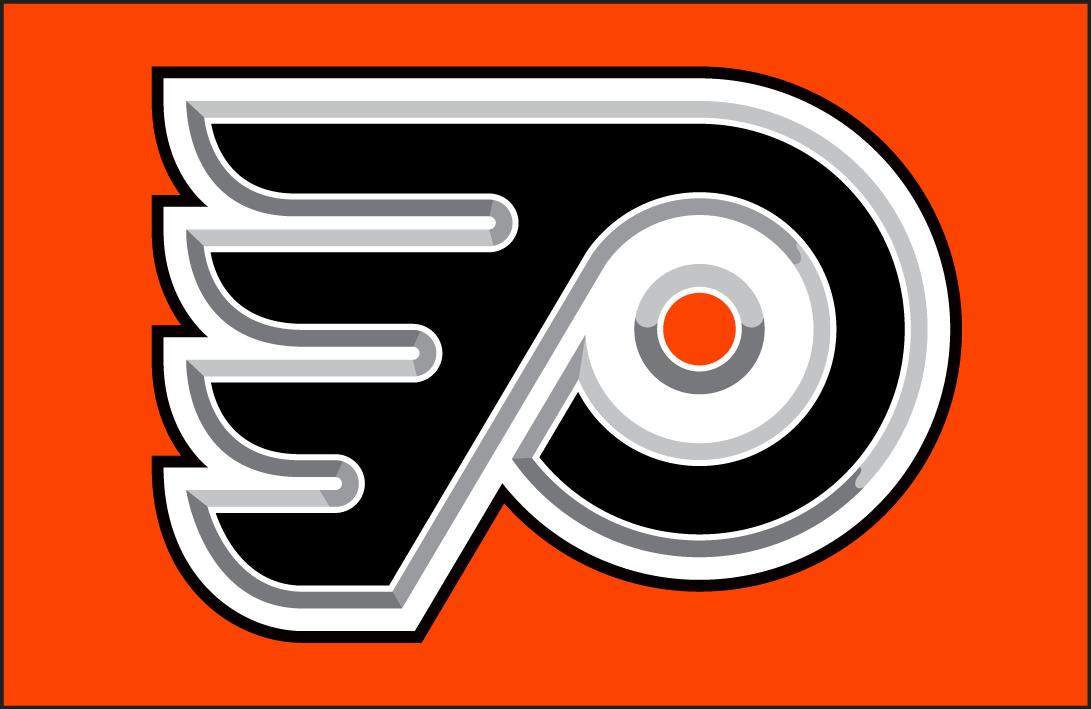 Philadelphia Flyers Logo Jersey Logo (2002/03-2006/07) - A 3D/metallic version of the Philadelphia Flyers logo on orange. Worn on the Flyers orange alternate jersey from 2002-03 until 2006-07. SportsLogos.Net