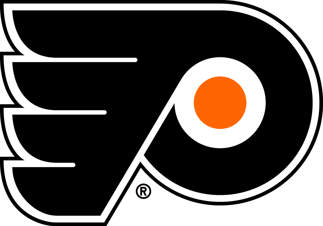 Philadelphia Flyers Logo Primary Logo (1967/68-1998/99) - A black P with wings, orange dot in the centre to simulate a hockey puck. Shade of orange adjusted slightly for the 1999-2000 season SportsLogos.Net
