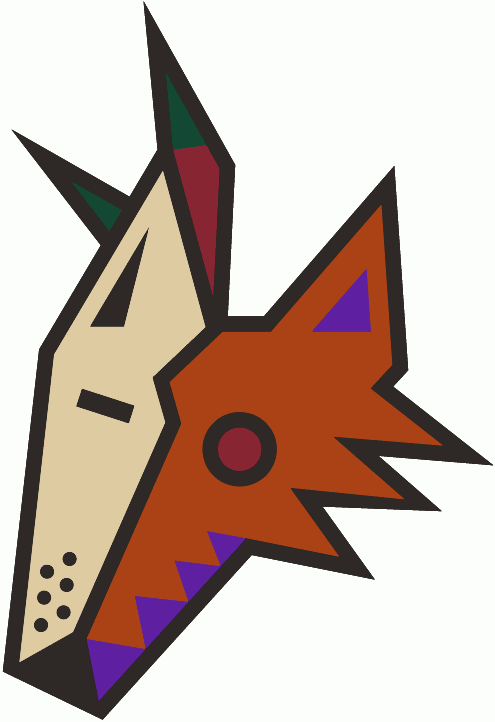 Phoenix Coyotes Logo Alternate Logo (1996/97-1998/99) - A sienna-brown coyote head with a sand-beige goalie mask covering half its face. Purple, brick red, and hunter green accents throughout. Before the 1999-2000 season the shade of brick red in this logo was darkened. SportsLogos.Net