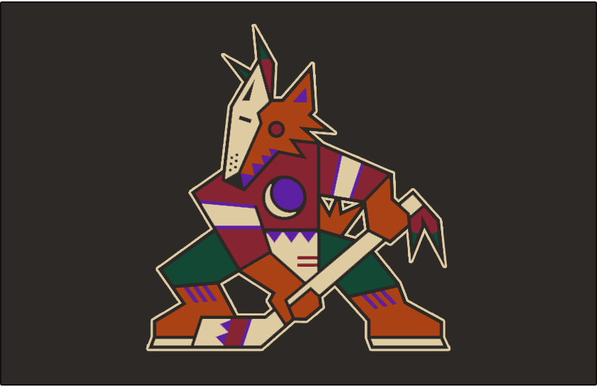 Phoenix Coyotes Logo Jersey Logo (1996/97-1998/99) - Coyote primary logo without team script and outlined in sand beige on black - worn on Coyotes road black jersey from 1996-97 through 1998-99, shade of red was adjusted for the 1999-2000 season SportsLogos.Net