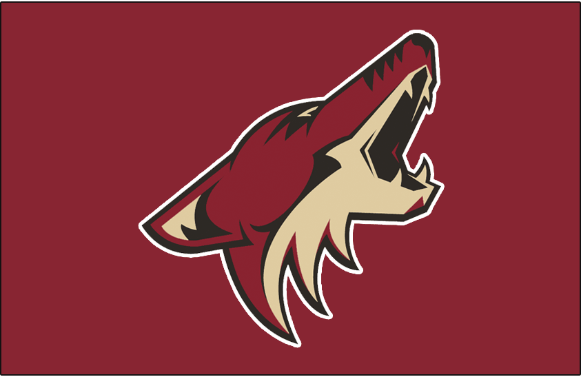 Phoenix Coyotes Logo Jersey Logo (2003/04-2013/14) - Coyote head in brick red, black, and sand howling with a white outline on a brick red jersey - worn on the Phoenix Coyotes home red jersey from 2003-04 until their name change in 2013-14 SportsLogos.Net