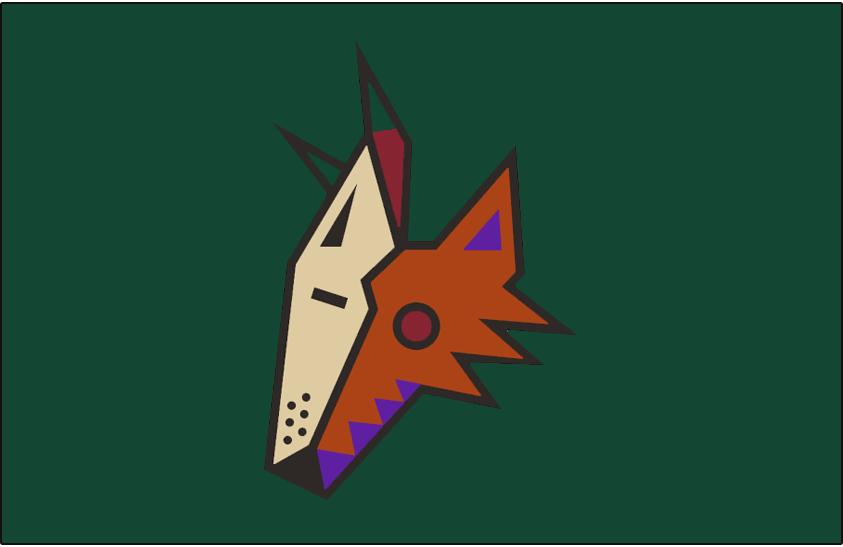 Phoenix Coyotes Logo Jersey Logo (1998/99) - Coyote head on green - this jersey included a generic desert scene below the logo not shown in this graphic. This logo had a beige outline added to it for the 1999-2000 season. Worn on the Phoenix Coyotes green alternate uniform during the 1998-99 season only SportsLogos.Net