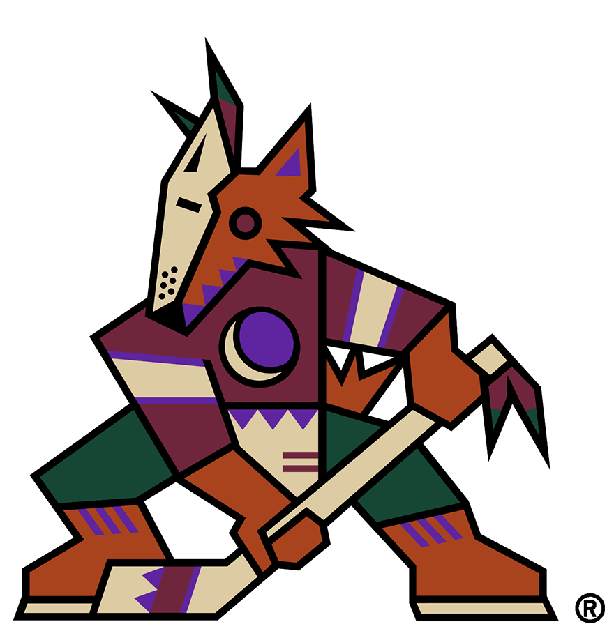 Phoenix Coyotes Logo Primary Logo (1999/00-2002/03) - Known as the Kachina Coyotes logo, the Phoenix Coyotes used this logo from their first season in Arizona in 1996-97 through 2002-03. The logo shows a coyote in the style of a kachina doll, wearing half a mask, holding a hockey stick, and a crescent moon on its chest. This version of the logo, shown here without the team name, was adopted as the Coyotes official primary logo for the start of the 1999-2000 NHL season. SportsLogos.Net