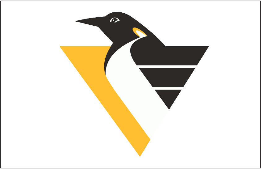 Pittsburgh Penguins Logo Jersey Logo (1992/93-1998/99) - Penguin body forming a triangle with speed lines on white. Worn on Pittsburgh Penguins home jersey from 1992-93 until 1998-99. Shade of yellow adjusted slightly for 1999-2000 season SportsLogos.Net