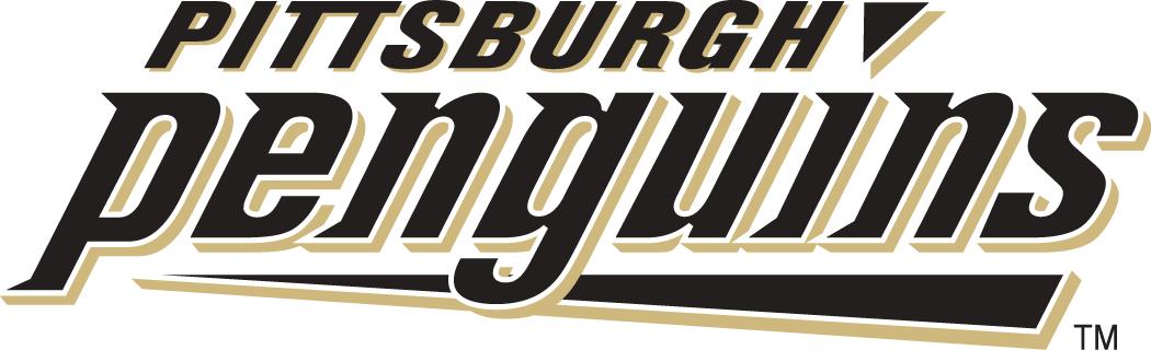 Pittsburgh Penguins Logo Wordmark Logo (2002/03-2007/08) - Penguins in black and gold lowercase font SportsLogos.Net