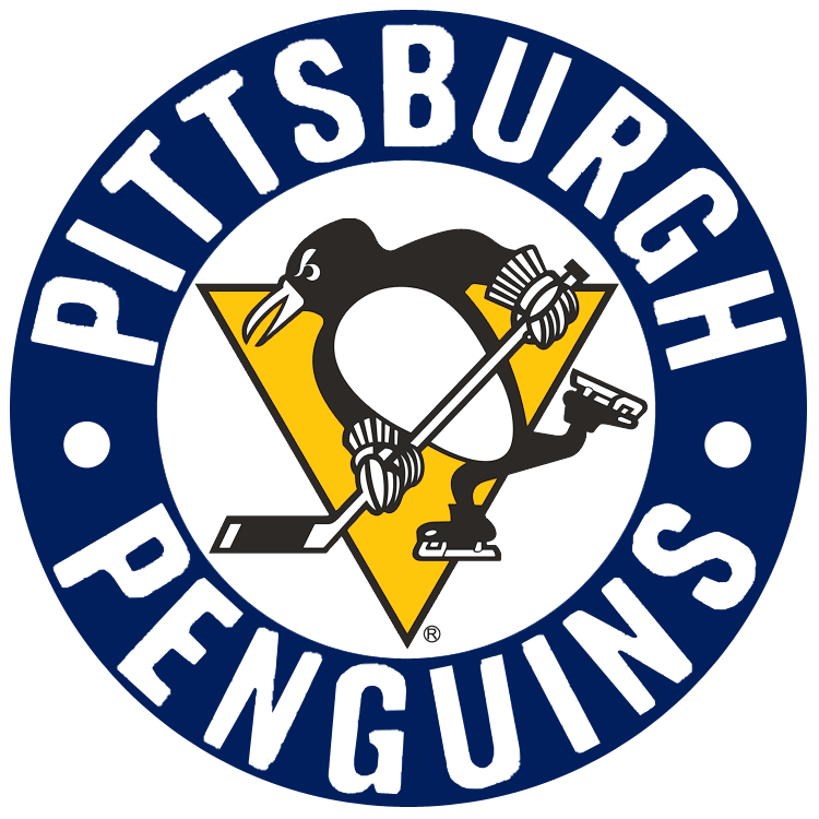Pittsburgh Penguins Logo Primary Logo (1968/69-1971/72) - Skating penguin in navy circle with Pittsburgh Penguins inside SportsLogos.Net