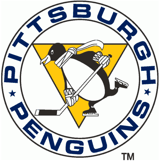 Pittsburgh Penguins Logo Primary Logo (1967/68) - Penguin with scarf in a white outlined circle and yellow triangle SportsLogos.Net