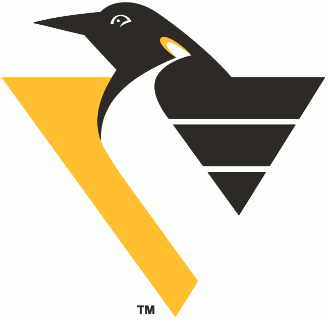 Pittsburgh Penguins Logo Primary Logo (1992/93-1998/99) - Top half of a penguin in motion on a yellow triangle - shade of yellow adjusted slightly following the 1998-99 season SportsLogos.Net