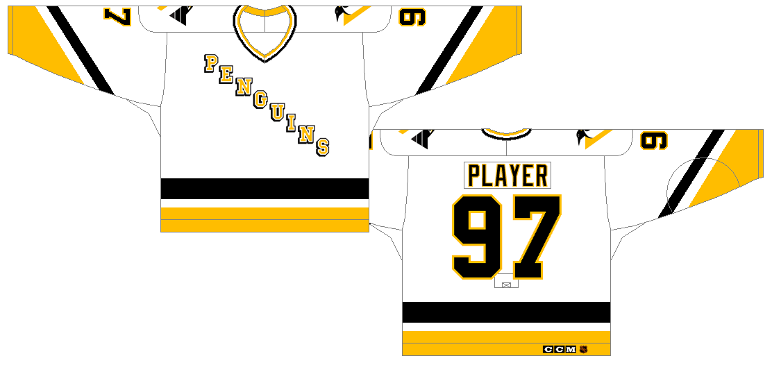 Pittsburgh Penguins Uniform Unused Uniform (1992/93) - White jersey with PENGUINS written diagonally in yellow with a black drop shadow, Penguins logo on shoulder. Black and yellow striping at the sleeves and bottom of jersey. SportsLogos.Net