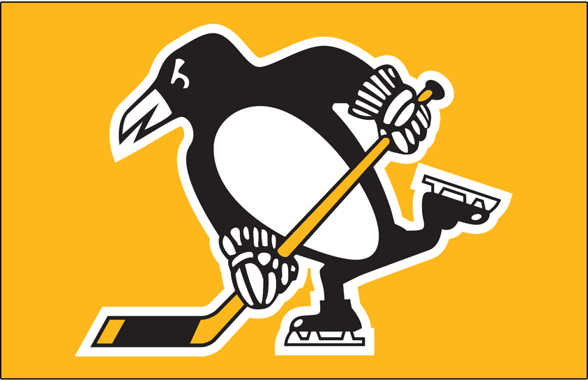 Pittsburgh Penguins Logo Jersey Logo (2018/19-Pres) - Penguin in black and white with hockey stick, no triangle behind it, on yellow (or