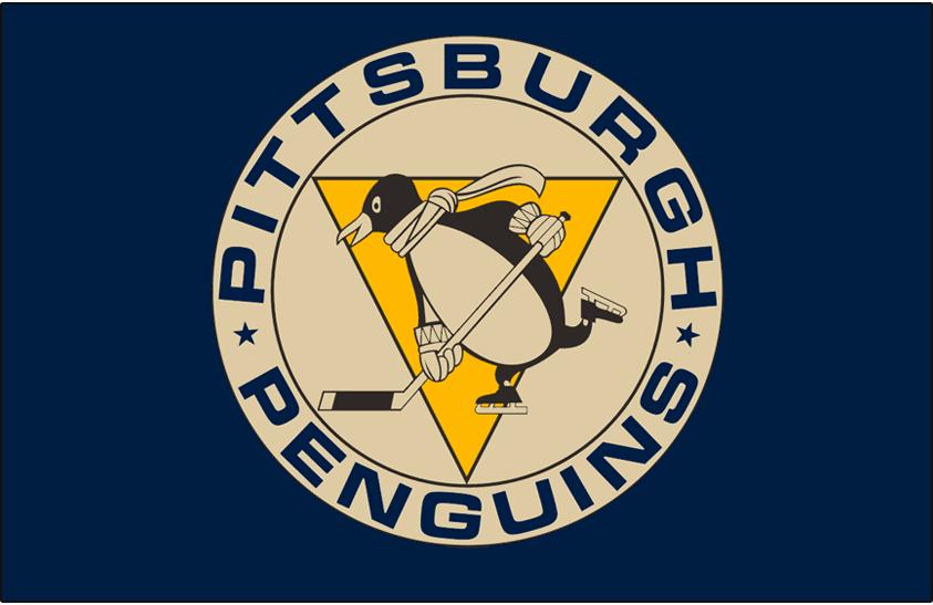 Pittsburgh Penguins Logo Jersey Logo (2011/12-2012/13) - Original team logo on dark blue, worn on Pittsburgh Penguins throwback-style alternate jersey from 2011-12 until 2012-13 SportsLogos.Net