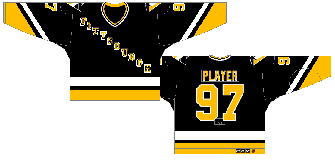 Pittsburgh Penguins Uniform Dark Uniform (1992/93-1996/97) - After winning back to back Stanley Cup titles, the Penguins update their logo, and redesign their jerseys. SportsLogos.Net