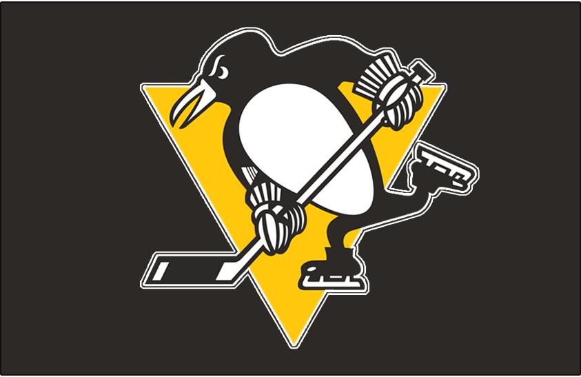 Pittsburgh Penguins Logo Jersey Logo (1979/80-1985/86) - Skating penguin logo outlined in white on black, worn on the Pittsburgh Penguins road jersey from midway through the 1979-80 season until 1985-86 SportsLogos.Net