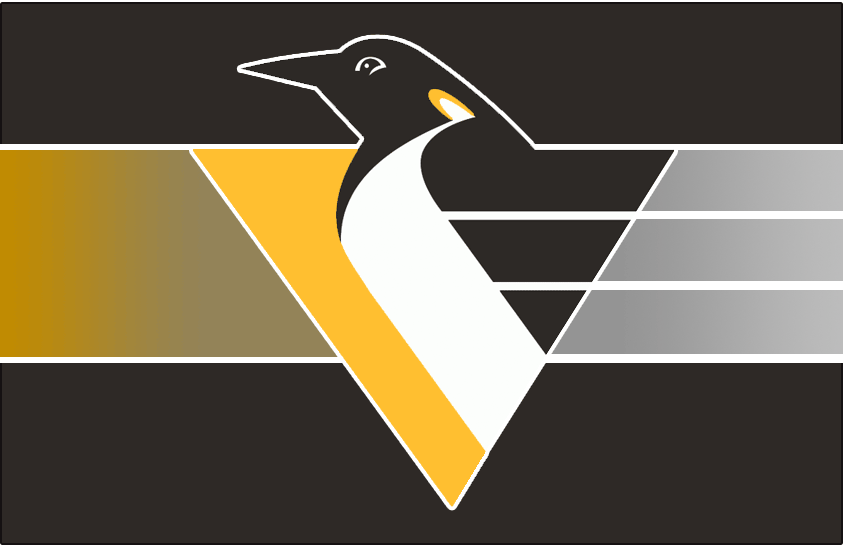 Pittsburgh Penguins Logo Jersey Logo (1995/96-1998/99) - Penguin body forming a triangle with speed lines on black with a grey-to-yellow gradient behind it. Worn on Pittsburgh Penguins alternate jersey in 1995-96 and 1996-97, promoted to full-time road jersey in 1997-98. Shade of yellow adjusted slightly for 1999-2000 season SportsLogos.Net