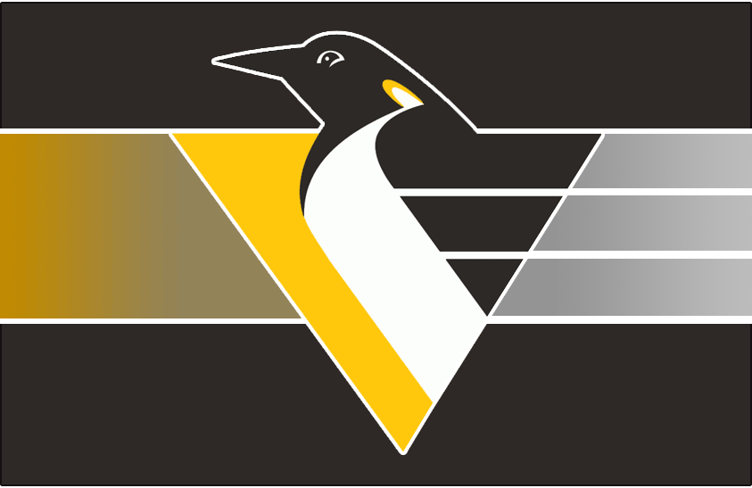Pittsburgh Penguins Logo Jersey Logo (1999/00-2001/02) - Penguin body forming a triangle with speed lines on black with a grey-to-yellow gradient behind it. Worn on Pittsburgh Penguins road jersey from 1999-2000 until 2001-02. Shade of yellow adjusted slightly for 1999-2000 season SportsLogos.Net