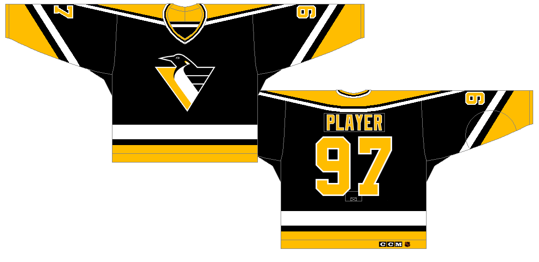Pittsburgh Penguins Uniform Unused Uniform (1992/93) - Black uniform with yellow and white shoulder, sleeve, and waist striping.  Penguins updated logo on chest. SportsLogos.Net