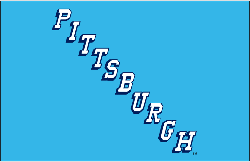 Pittsburgh Penguins Logo Jersey Logo (1967/68) - PITTSBURGH diagonally in white with dark blue drop shadow on light blue. Worn on Pittsburgh Penguins home blue jerseys during their 1967-68 inaugural season SportsLogos.Net