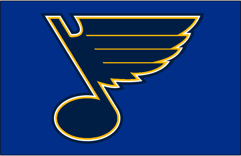 St. Louis Blues Logo Jersey Logo (2008/09-Pres) - Blue and yellow blue note on blue, worn on St Louis Blues home blue jersey since 2008-09 SportsLogos.Net