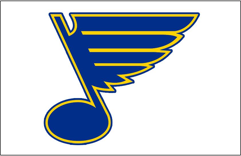 St. Louis Blues Logo Jersey Logo (1967/68-1983/84) - Bluenote logo on white -- worn on St Louis Blues white jerseys from 1967-68 inaugural season until 1983-84 SportsLogos.Net