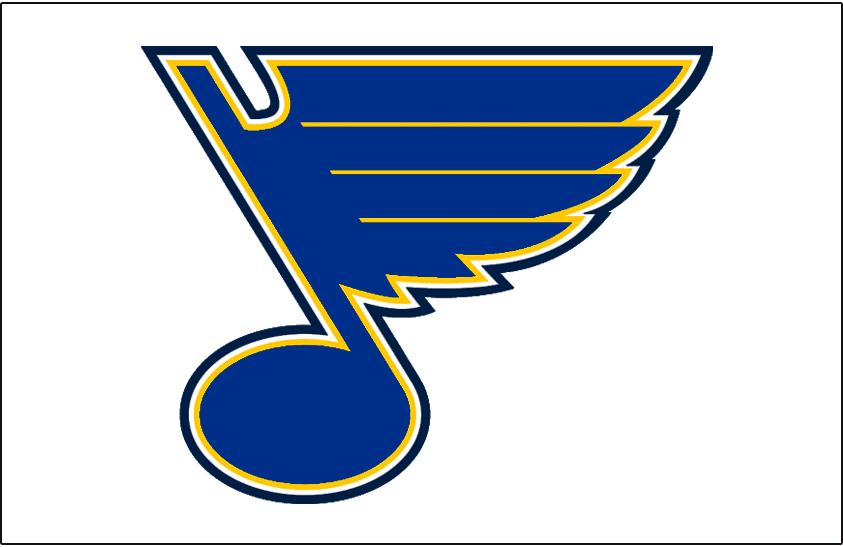 St. Louis Blues Logo Jersey Logo (1999/00-2007/08) - Blue, and yellow musical blue note on white, worn on St Louis Blues white jersey from 1999-2000 through 2007-08 SportsLogos.Net
