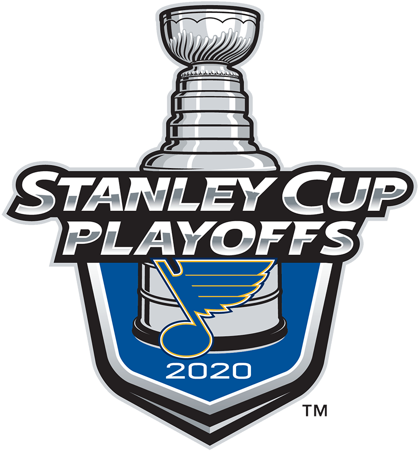 St. Louis Blues Logo Event Logo (2019/20) - The St Louis Blues 2020 Stanley Cup Playoffs logo features the Blues classic Bluenote logo on a blue shield with STANLEY CUP PLAYOFFS written above in silver and 2020 below in white. A depiction of the top-half of the Stanley Cup can be seen above the shield. This logo is used by the Blues on various materials throughout their participating in the 2020 NHL Stanley Cup Playoffs. SportsLogos.Net