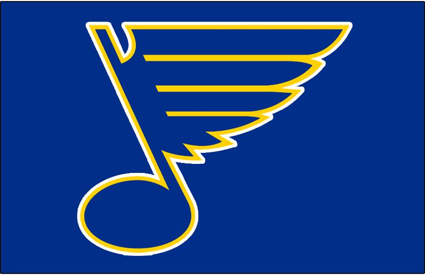 St. Louis Blues Logo Jersey Logo (1967/68-1983/84) - Bluenote logo on blue -- worn on St Louis Blues blue jerseys from 1967-68 inaugural season until 1983-84 SportsLogos.Net