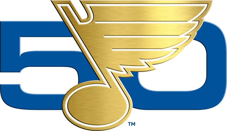 St. Louis Blues Logo Anniversary Logo (2016/17) - 50th Anniversary logo with metalic gold Blue Note. SportsLogos.Net