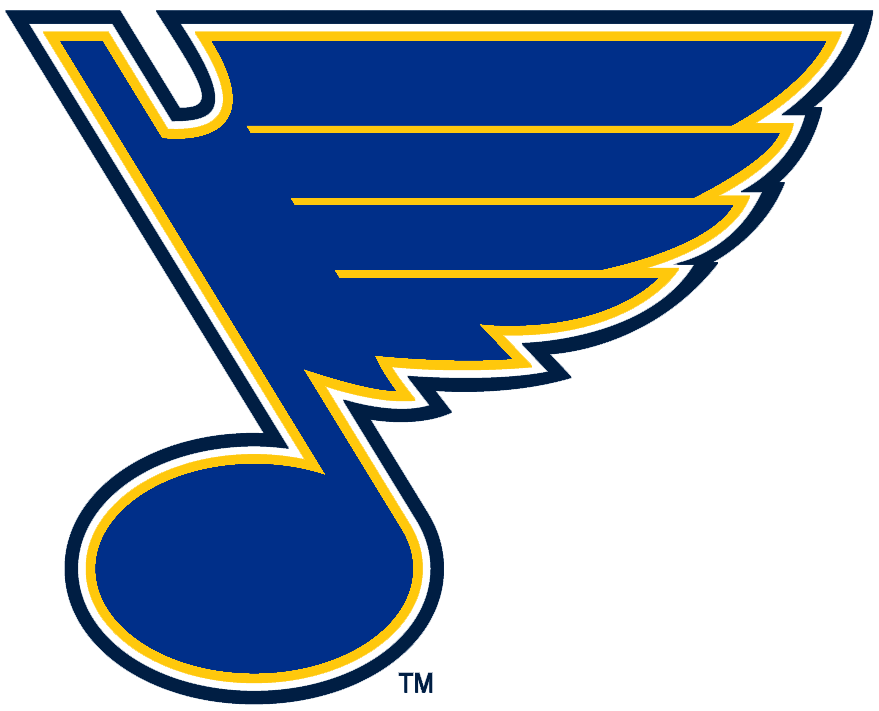 St. Louis Blues Logo Primary Logo (1999/00-2007/08) - A light blue musical note outlined in yellow and navy. Shade of blue adjusted following the 1998-99 season, shade of gold adjusted for 2008-09 SportsLogos.Net