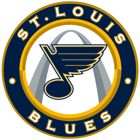 St. Louis Blues Logo Alternate Logo (2008/09-Pres) - Blue note in front of St Louis Gateway Arch inside a blue and gold circle SportsLogos.Net