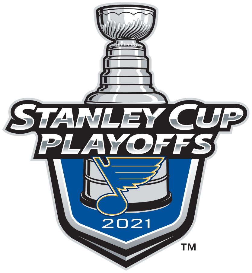 St. Louis Blues Logo Event Logo (2020/21) -  The St. Louis Blues 2021 Stanley Cup Playoffs logo features the classic Blues Bluenote logo on a blue shield with STANLEY CUP PLAYOFFS written above in silver and 2021 below in white. A depiction of the top-half of the Stanley Cup can be seen above the shield. This logo is used by the St. Louis Blues on various materials throughout their participation in the 2021 NHL Stanley Cup Playoffs. SportsLogos.Net