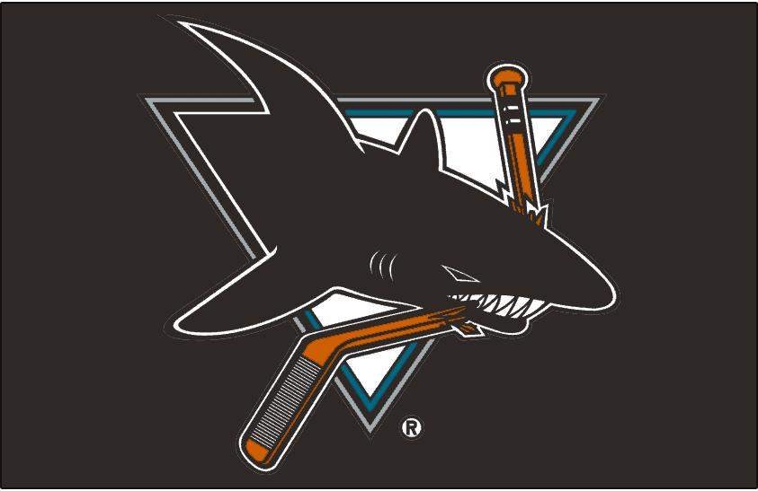 San Jose Sharks Logo Jersey Logo (2001/02-2006/07) - Worn on front of San Jose Sharks black alternate jersey from 2001-02 through 2006-07 SportsLogos.Net