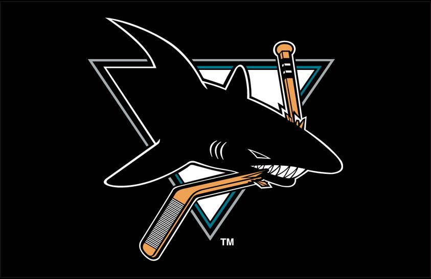 San Jose Sharks Logo Primary Dark Logo (1991/92-1997/98) - San Jose Sharks primary logo on black SportsLogos.Net
