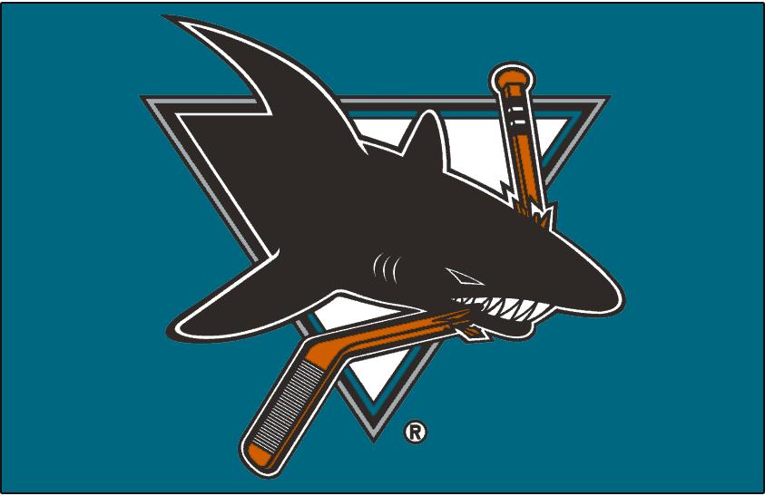 San Jose Sharks Logo Jersey Logo (1998/99-2006/07) - Worn on front of San Jose Sharks teal jersey from 1998-99 until 2006-07 SportsLogos.Net
