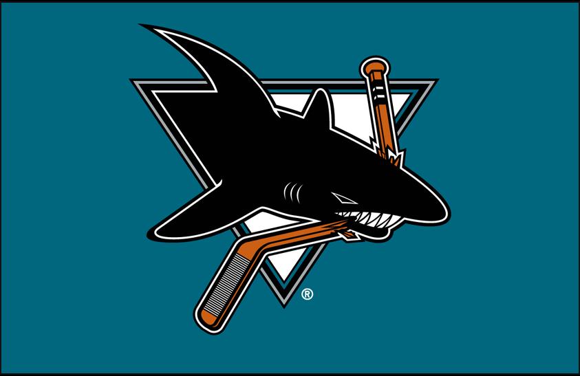 San Jose Sharks Logo Primary Dark Logo (1998/99-2006/07) - San Jose Sharks primary logo on teal SportsLogos.Net
