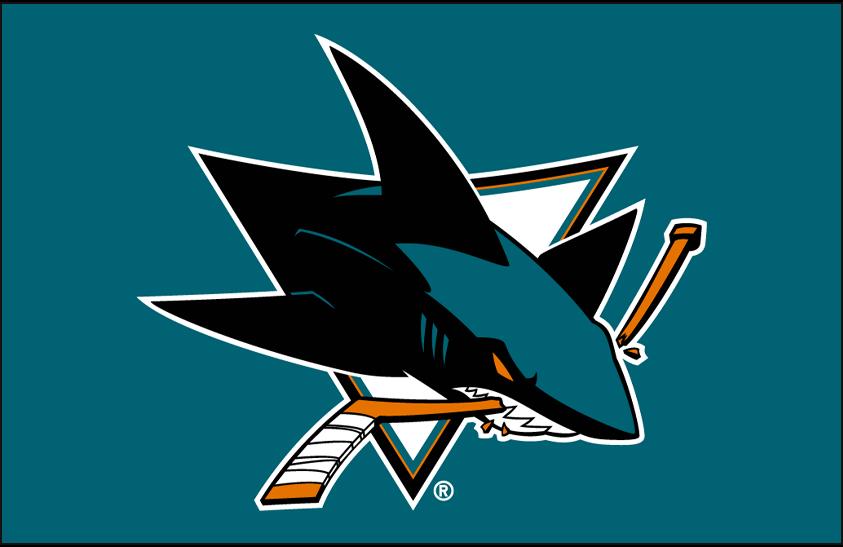 San Jose Sharks Logo Primary Dark Logo (2008/09-Pres) - San Jose Sharks primary logo on teal SportsLogos.Net