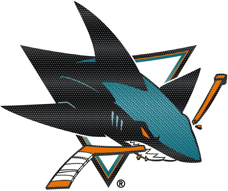 San Jose Sharks Logo Special Event Logo (2014/15) - Carbon fibre textured jersey crest logo worn on the San Jose Sharks 2015 Stadium Series jersey. SportsLogos.Net