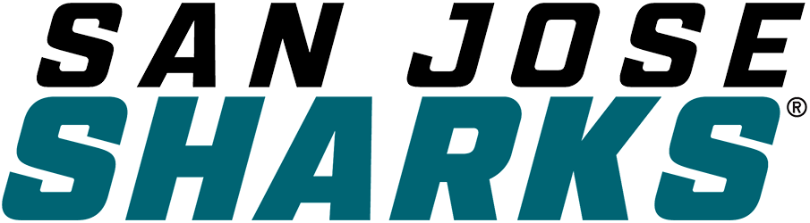 San Jose Sharks Logo Wordmark Logo (2020/21-Pres) - For the 2020-21 NHL season, the San Jose Sharks introduced a new wordmark logo, a much more simplified look compared to what it replaced. The entire name of the team presented in Italics with a modified sans serif style font. SAN JOSE appears in black above SHARKS in teal. SportsLogos.Net